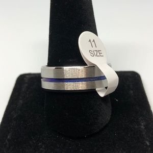Other - Stainless Steel Blue Band Unisex Ring Size 11
